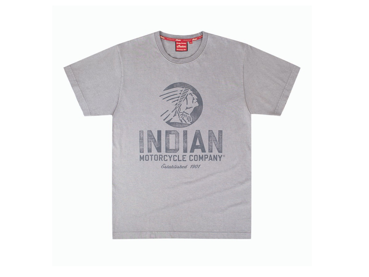 Men's Circle Icon T-Shirt, Gray- Indian Motorcycle - Legendbikers