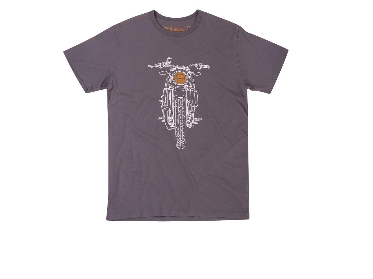 Men's Hand Drawn FTR1200 Headlight T-Shirt, Gray- Indian Motorcycle - Legendbikers