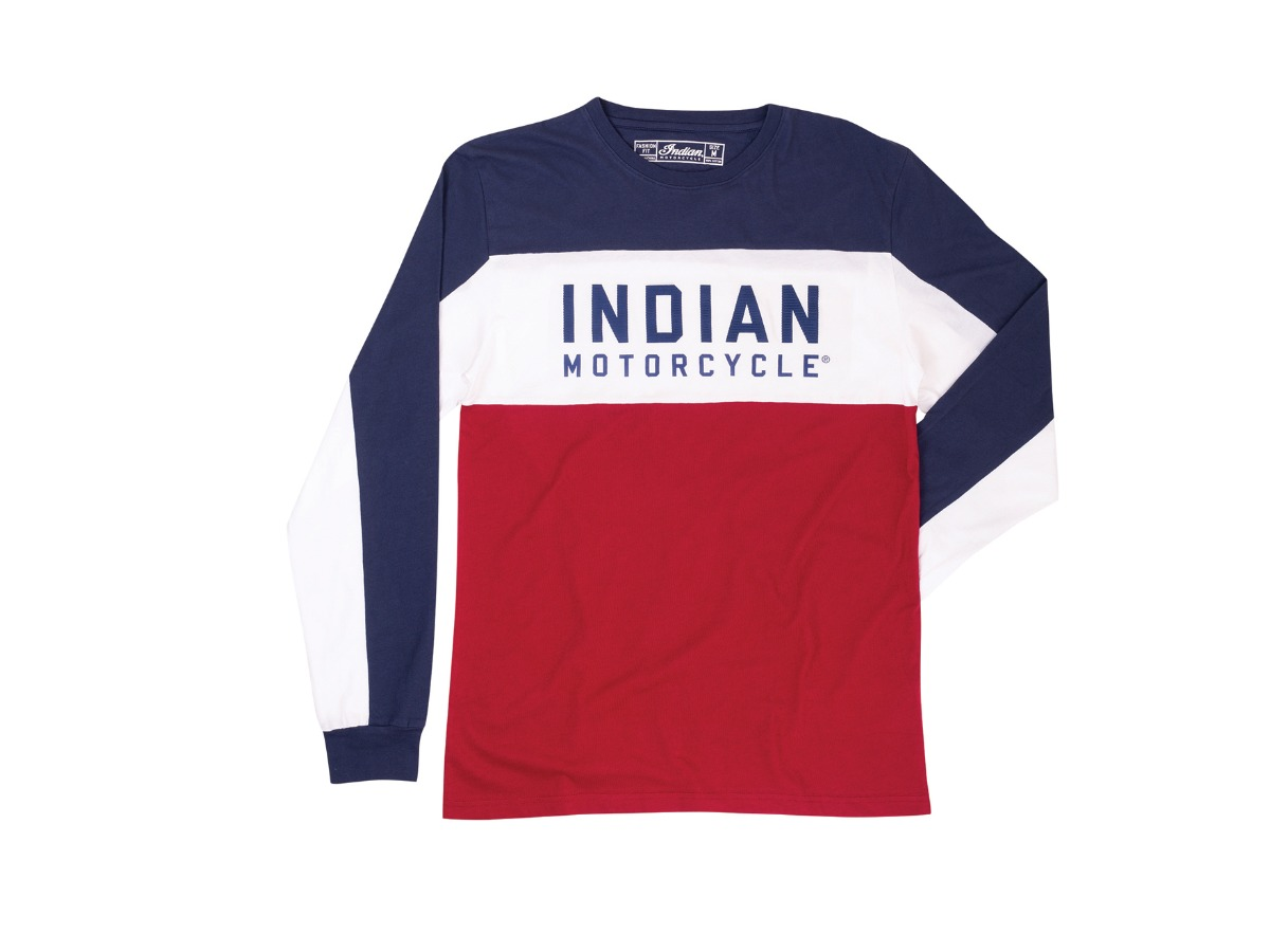 Men's Long-Sleeve Color Block T-shirt, Red/White/Blue- Indian Motorcycle - Legendbikers