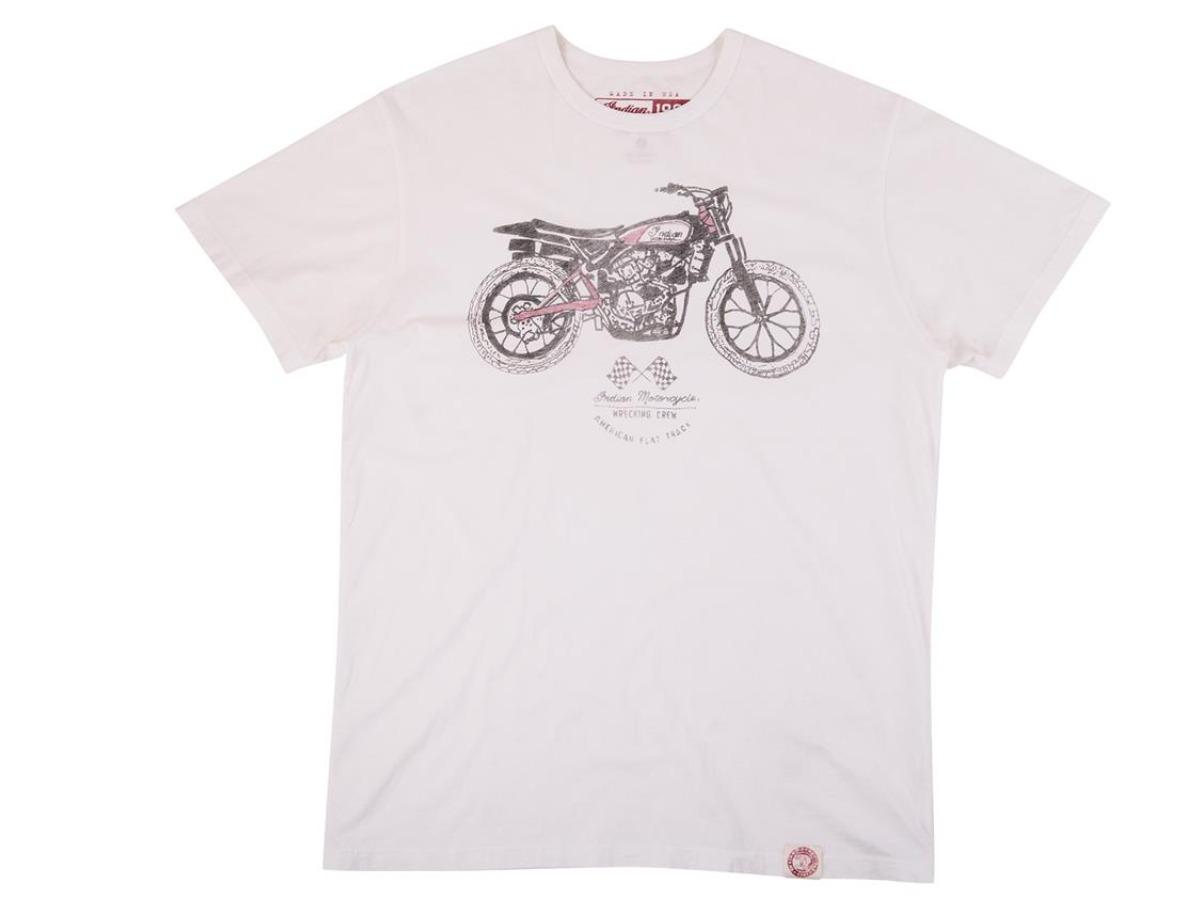 Men's 1901 Hand Drawn FTR Bike T-Shirt, White - Indian Motorcycle - Legendbikers
