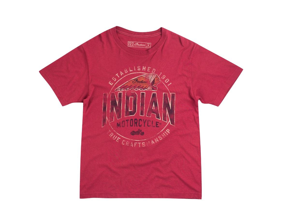 Men's Vintage True Craftmanship T-Shirt, Red- Indian Motorcycle - Legendbikers