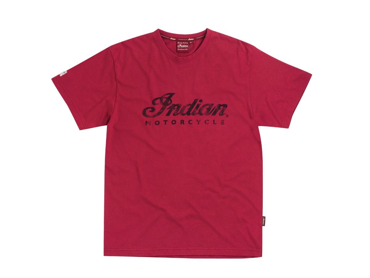 Men's Script Logo T-Shirt, Red - Indian Motorcycle - Legendbikers