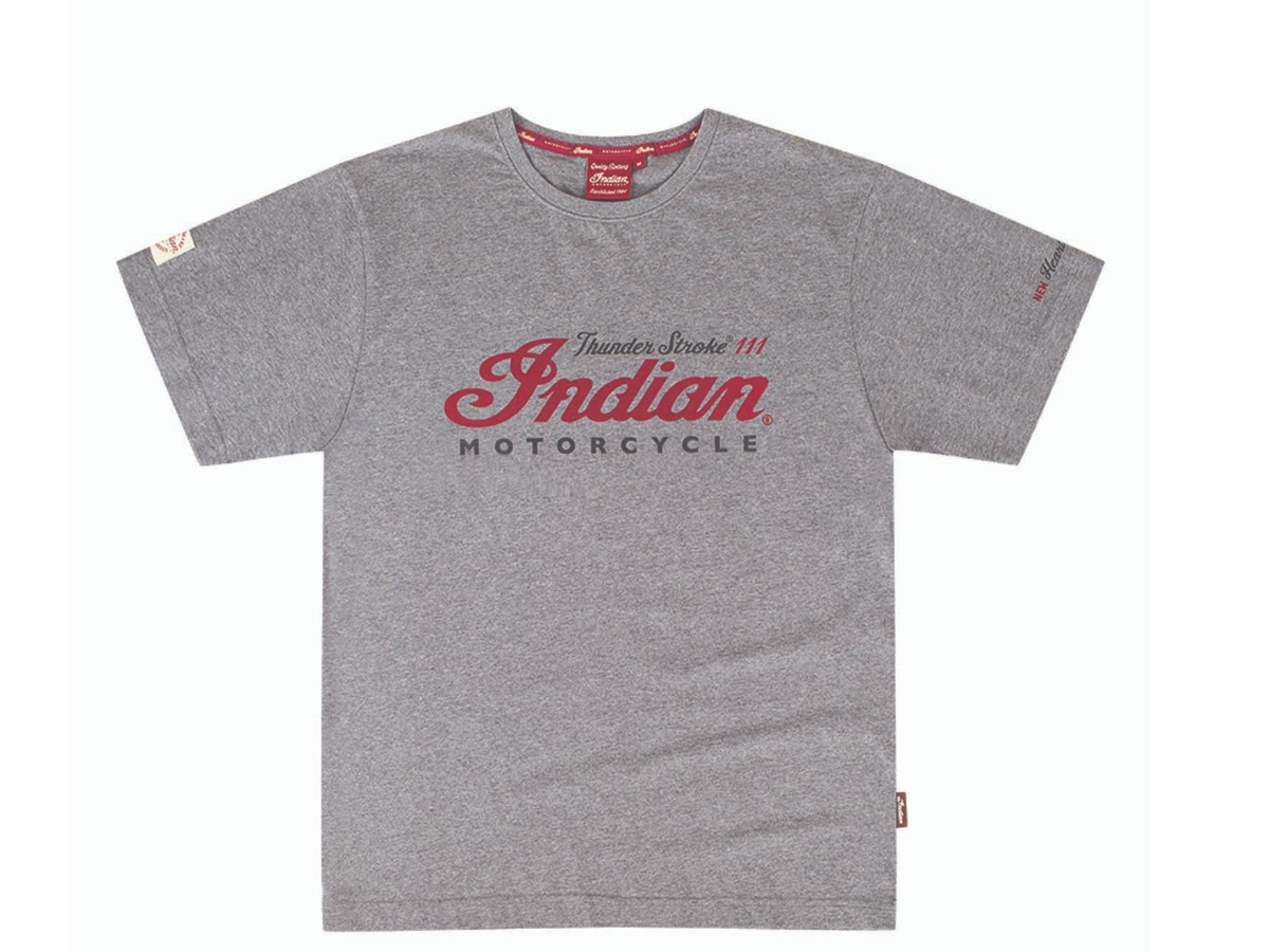 Men's Thunder Stroke 111 T-Shirt, Gray- Indian Motorcycle - Legendbikers