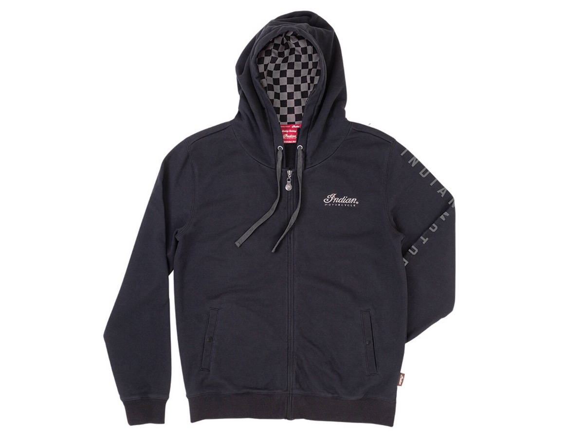 Men's Full-Zip Hoodie Sweatshirt with Checkers, Black/Gray- Indian Motorcycle - Legendbikers