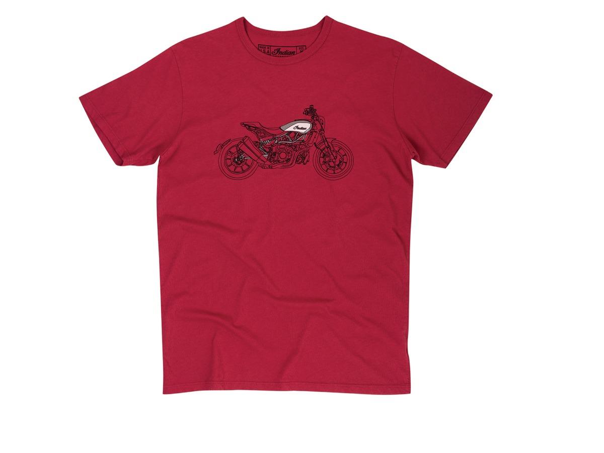 Men's FTR1200 Sketch T-shirt, Red - Indian Motorcycle - Legendbikers