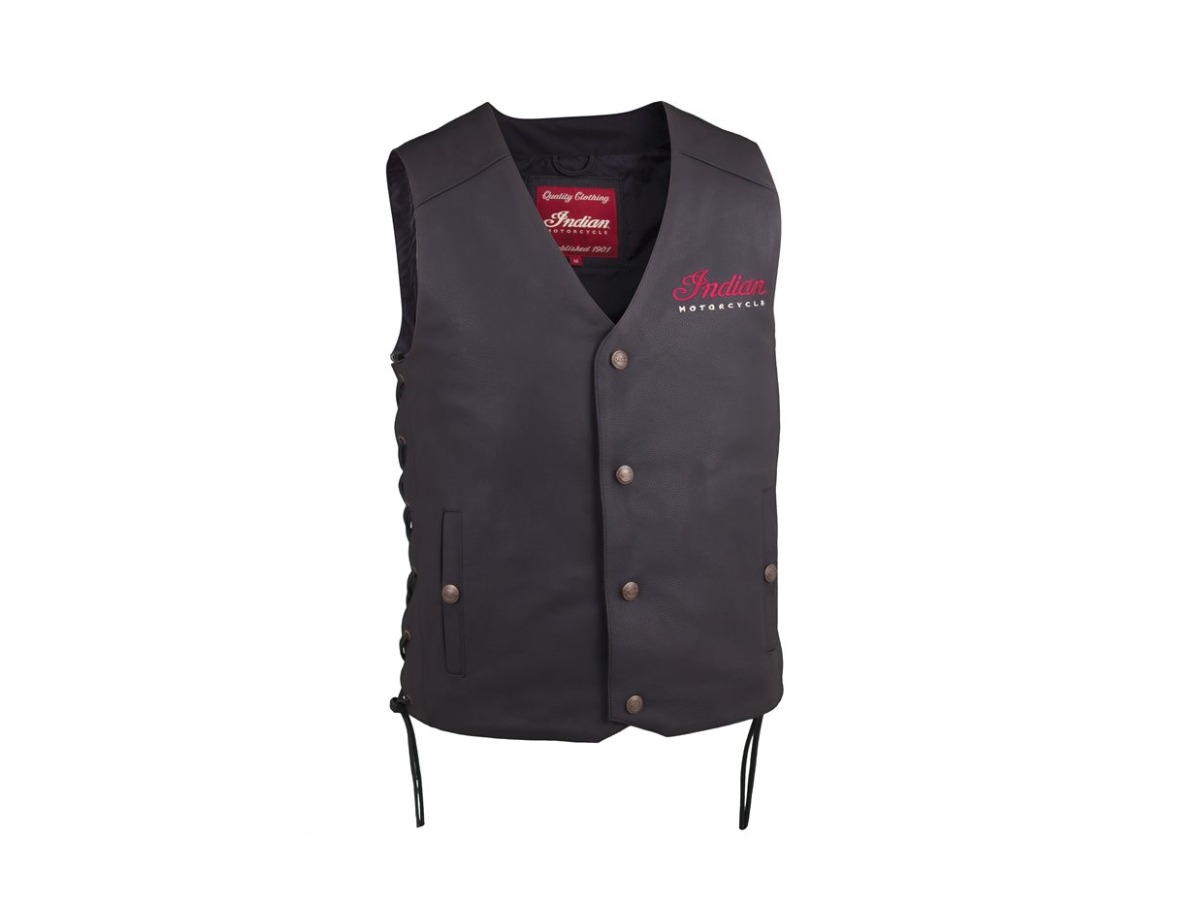 Men's Classic Leather Vest, Black- Indian Motorcycle - Legendbikers