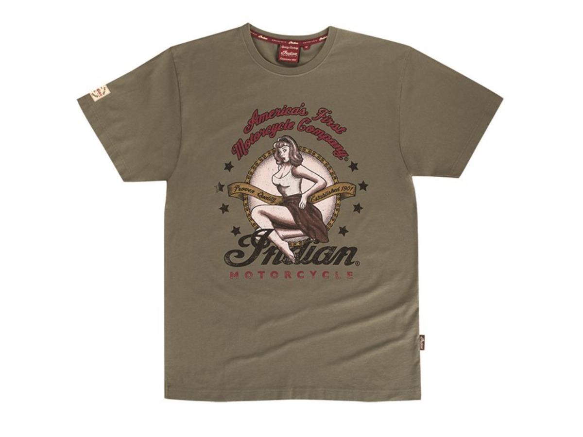 Men's Bomber Girl T-Shirt, Olive  - Indian Motorcycle - Legendbikers